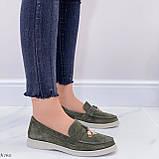 Стильные туфли - лоферы женские зеленые/ хаки натуральная замша, фото 3
