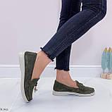Стильные туфли - лоферы женские зеленые/ хаки натуральная замша, фото 5