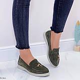 Стильные туфли - лоферы женские зеленые/ хаки натуральная замша, фото 4