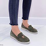 Стильные туфли - лоферы женские зеленые/ хаки натуральная замша, фото 7
