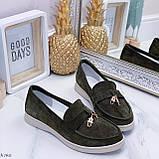 Стильные туфли - лоферы женские зеленые/ хаки натуральная замша, фото 8