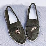 Стильные туфли - лоферы женские зеленые/ хаки натуральная замша, фото 9