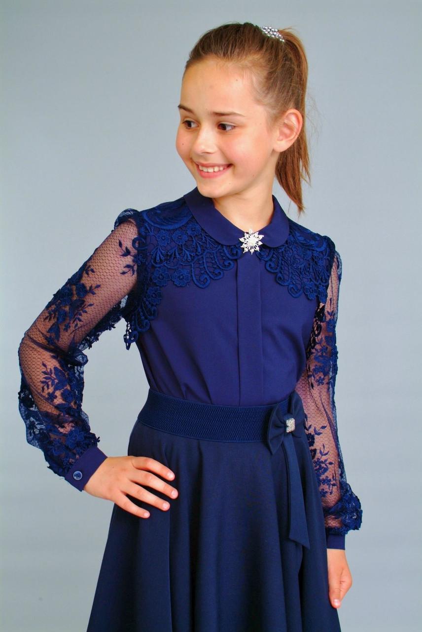 Тёмно-синяя школьная блуза для девочки размеры 134-158