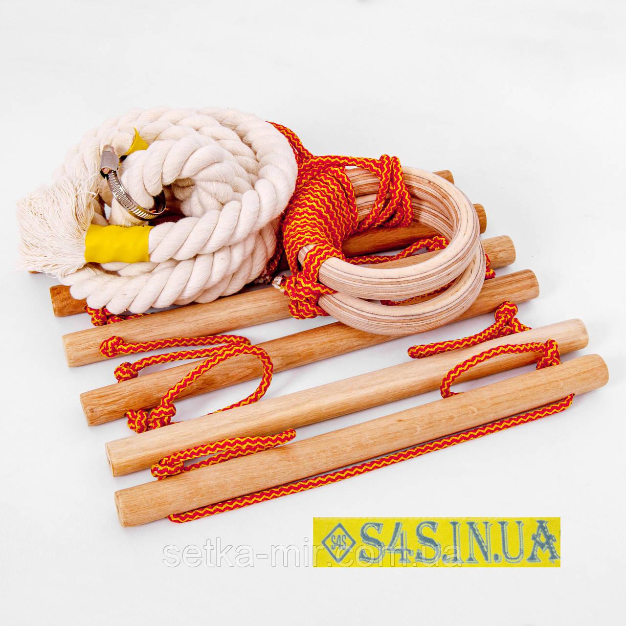Дитячий мотузковий набір з дерева для шведської стінки набір підвісний «ЕКОНОМ. ДЕРЕВО»