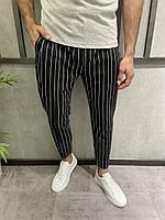 Чоловічі штани чорні в білу смужку, фото 1