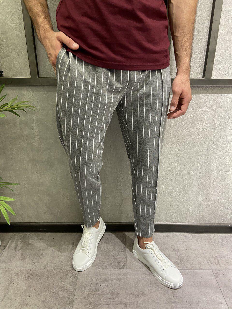 Чоловічі штани сірі в білу смужку