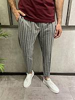 Чоловічі штани сірі в білу смужку, фото 1