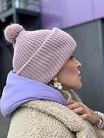 Шапка женская зимняя  вязаная с помпоном и с двойным подворотом  полушерстяная пудра, фото 1