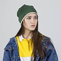 Шапка женская тонкая демисезонная хлопок-замша зеленая, фото 1