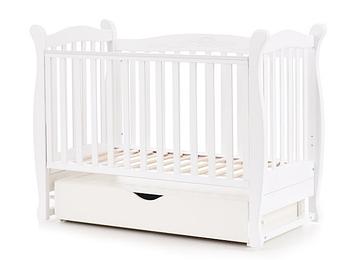 Дитяче ліжко Верес Соня ЛД15 Біле поперечний маятник з ящиком ЄС 3 рівні висоти