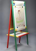 Детский двухсторонний мольберт Komarovtoys М404 с магнитной доской для рисования мелом и фломастером