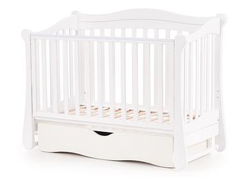 Детская кроватка Верес Соня ЛД18 Белая поперечный маятник с ящиком ЕС Новый функционал