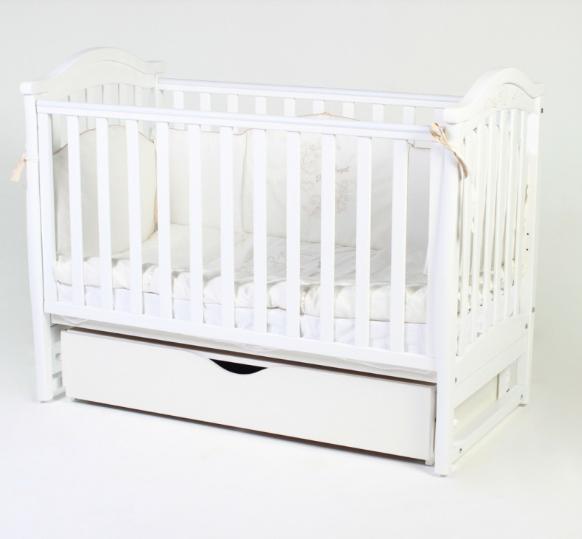 Детская кроватка Верес Соня ЛД3 Белая маятник с ящиком и резьбой ЕС
