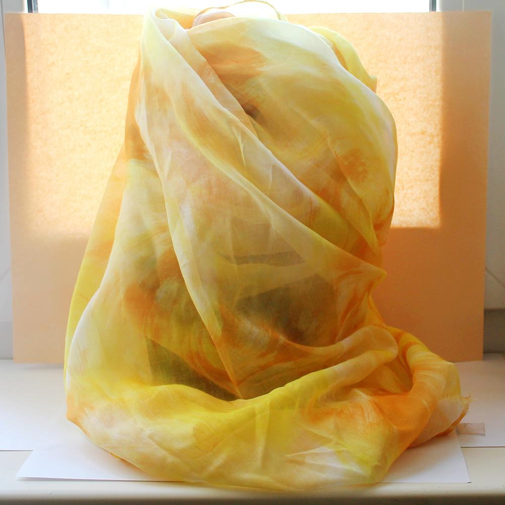 Желтый шарфик из вискозы