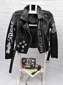 Стильная укороченная куртка из экокожи с принтом 42-48 р