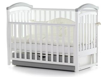 Дитяче ліжечко Верес Соня ЛД6 Біло-Сіре маятник з ящиком ЄС Новий функціонал