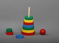 Пирамидка кольцевая 11 эл Komarovtoys 8х8х18 см, фото 2