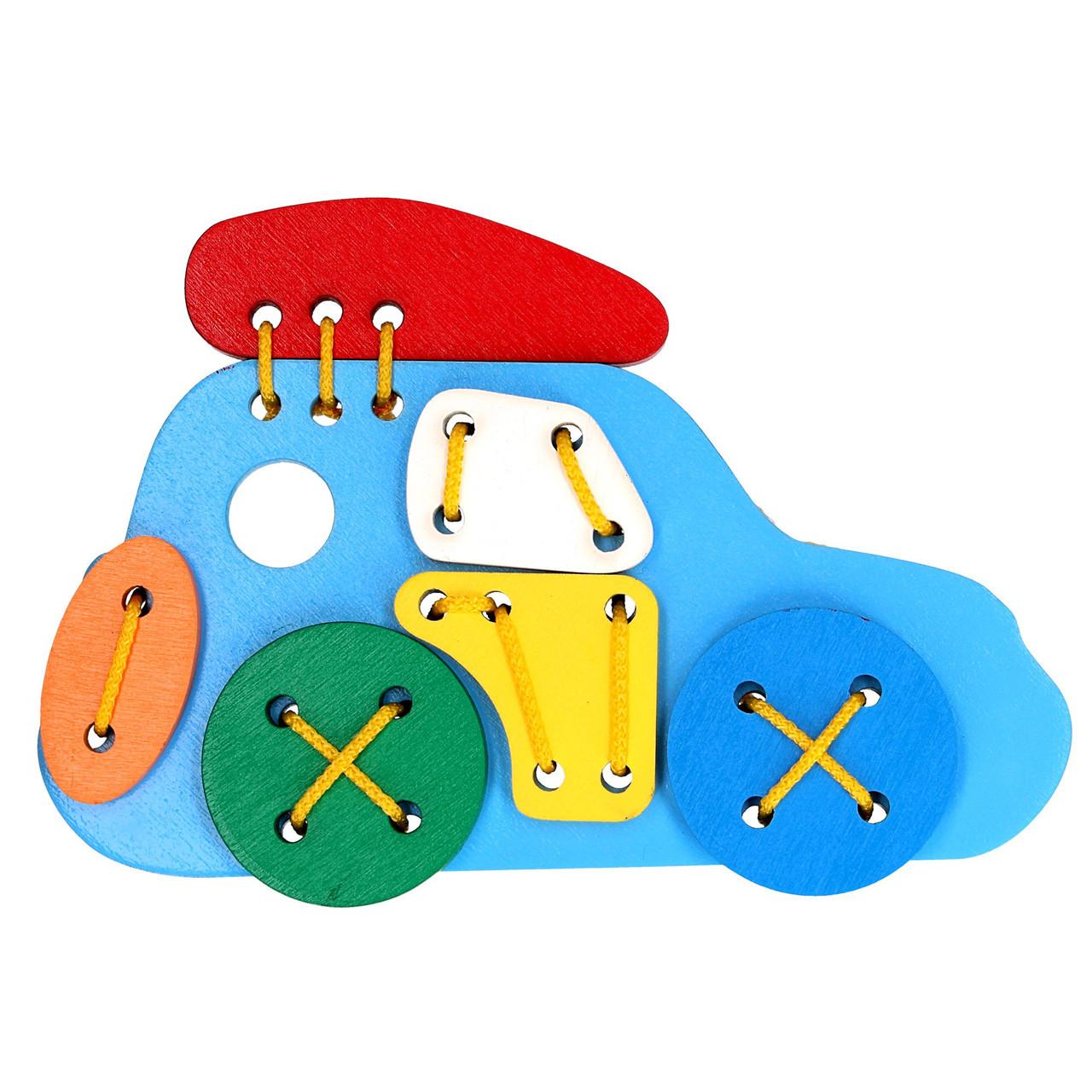 Деревянная игрушка шнуровка Джип Komarovtoys 19х15х2 см
