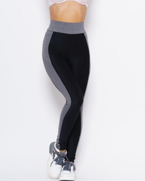 Черно-серые спортивные штаны для фитнеса L