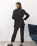 Черный клетчатый брючный костюм, фото 3
