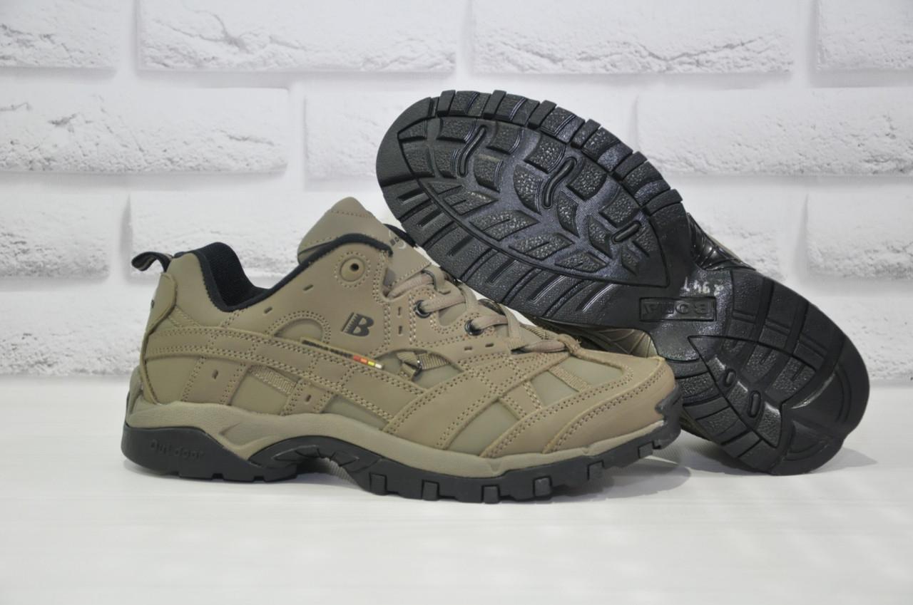 Мужские демисезонные кроссовки натуральный нубук BONA хаки