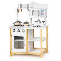 Детская деревянная кухня EcoToys TK040A белая + аксесуары (9277)