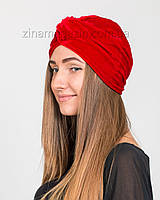 Шапка тюрбан бархатный красный