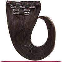 Натуральные европейские волосы на клипсах 40 см 120 грамм, Горький шоколад №02
