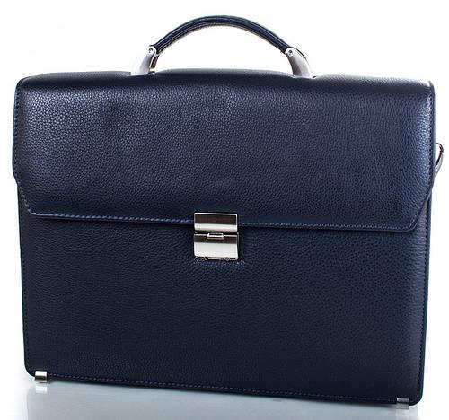 Роскошный кожаный мужской портфель Karlet (Карлет) SHI5624-6 темно-синий