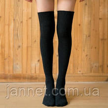 Чулки выше колена черные - длина ступни 21-27см, длина чулков 44 тянется до 50см, хлопок