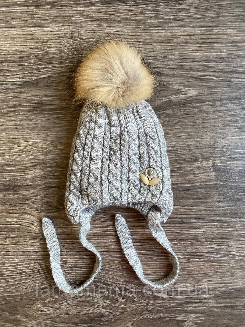 Зимняя вязаная шапка на завязках с натуральным помпоном Вероника (серый) ог. 50-52