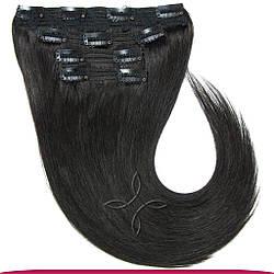 Натуральные Европейские Волосы на Заколках 40 см 110 грамм, Черный №1B