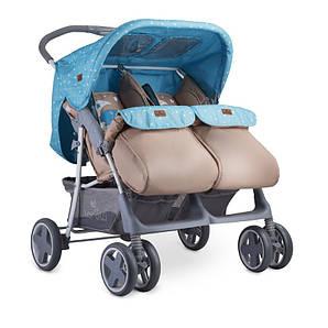Детская коляска для двойни Lorelli Twin Сине-бежевый (10020071955)