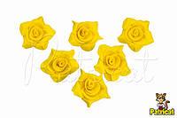 Цветы Розы Желтые из фоамирана (латекса) 2 см 9 шт/уп