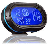 Электронные автомобильные Часы VST 7009V с подсветкой   Авто часы в машину (Black)