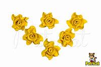 Цветы Розы Желтые из фоамирана (латекса) 3 см 10 шт/уп