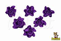 Цветы Роза Темная Сирень из фоамирана (латекса) 3 см 10 шт/уп