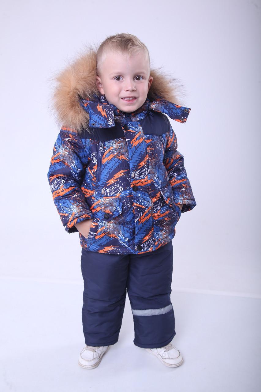 Детский зимний комбинезон для мальчика от производителя 22-28 Оранжевый принт