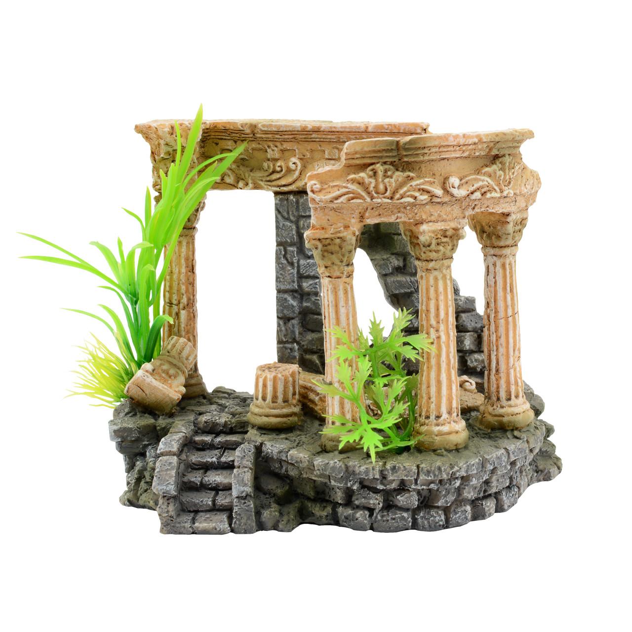 """Декорация Tetradon """"Римские руины с растениями""""  12.8*7.2*10.5 см RP024SH"""