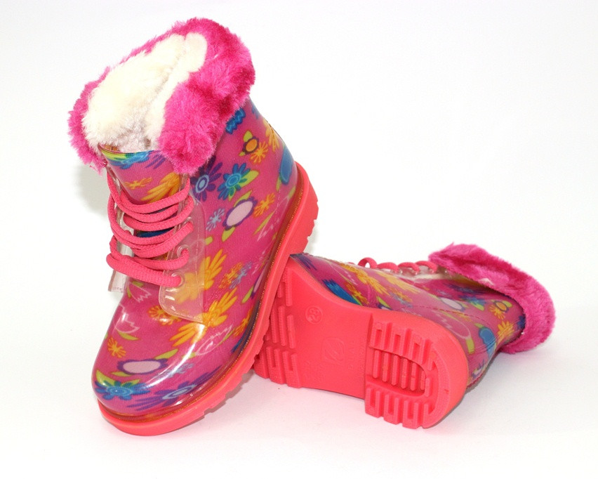 .Резиновые ботинки для девочки , утепленные резиновые сапоги детские