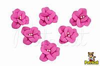 Цветы Фиалка темно-розовая с тычинками из фоамирана 3 см 10 шт/уп