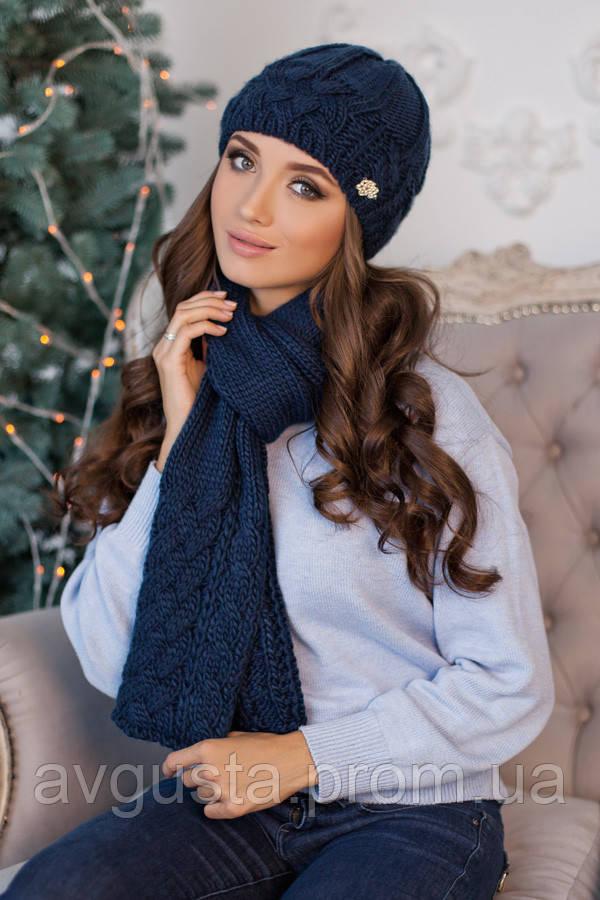 Комплект «Камелия» (шапка и шарф) (джинсовый) Braxton