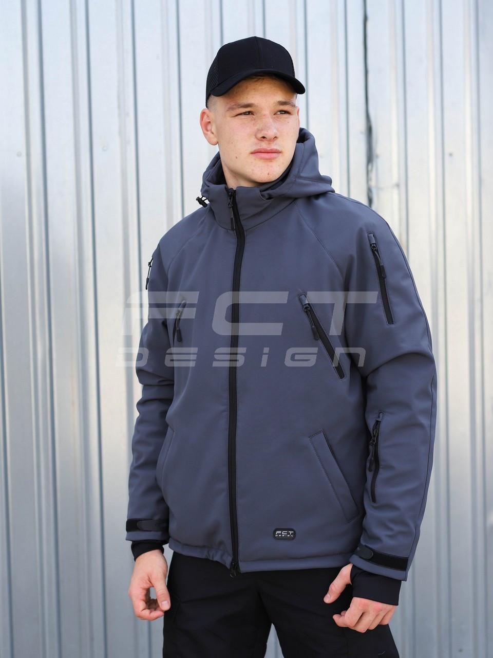 Куртка тактична Хантер Софтшелл сіра на сітці