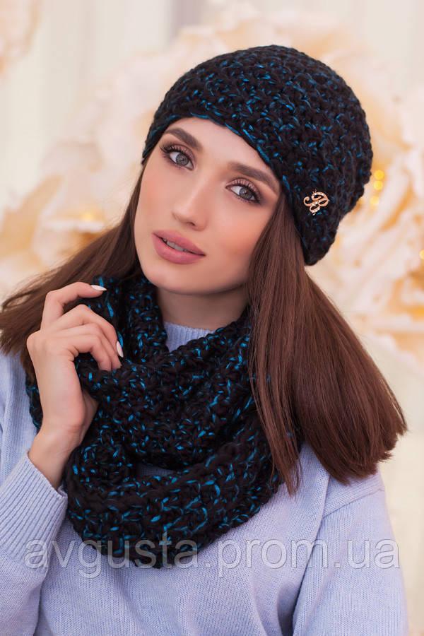 Комплект «Маранда» (шапка и шарф-снуд) (черный  + бирюзовый) Braxton