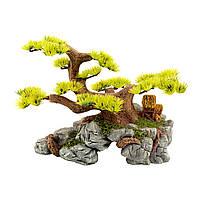 """Декорация Tetradon """"Дерево бонсай на камне с пещерой большое"""" 24.5*15*17 см TB124"""