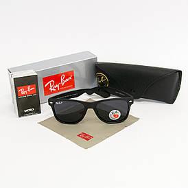 Солнцезащитные очки RAY BAN Wayfarer поляризационные антибликовые UV400 (арт. 2140P) черные матовые