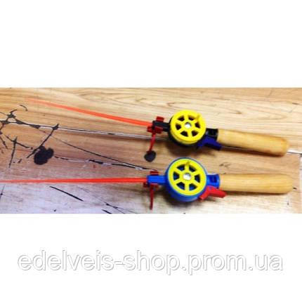 Удочка зимняя деревянная  ручка открытая катушка, фото 2