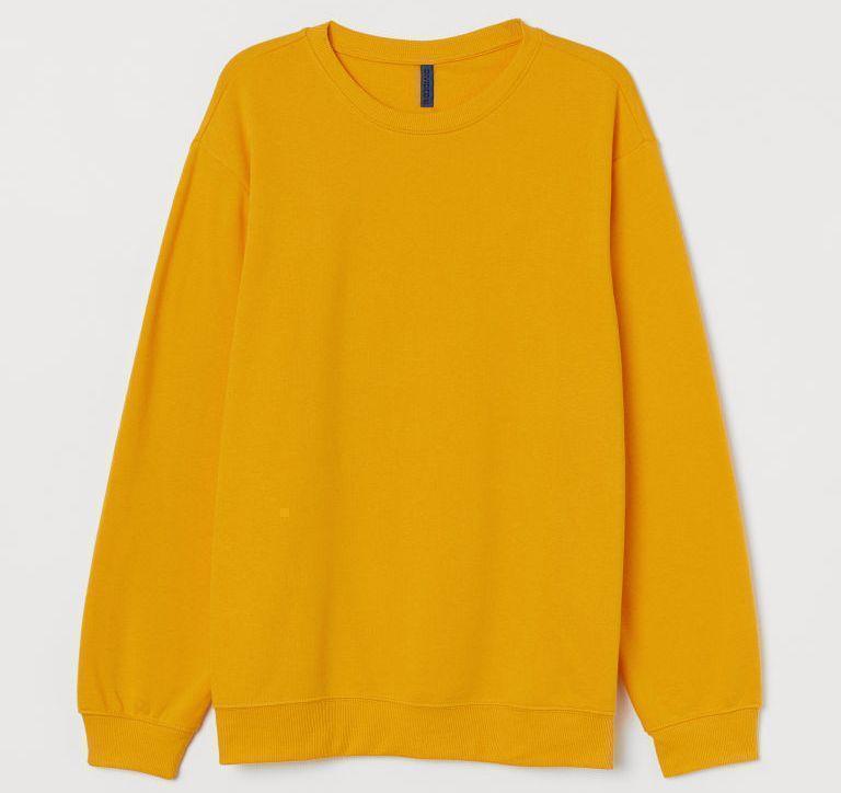 Однотонный свитшот женский размер XL, цвет ЖЕЛТЫЙ