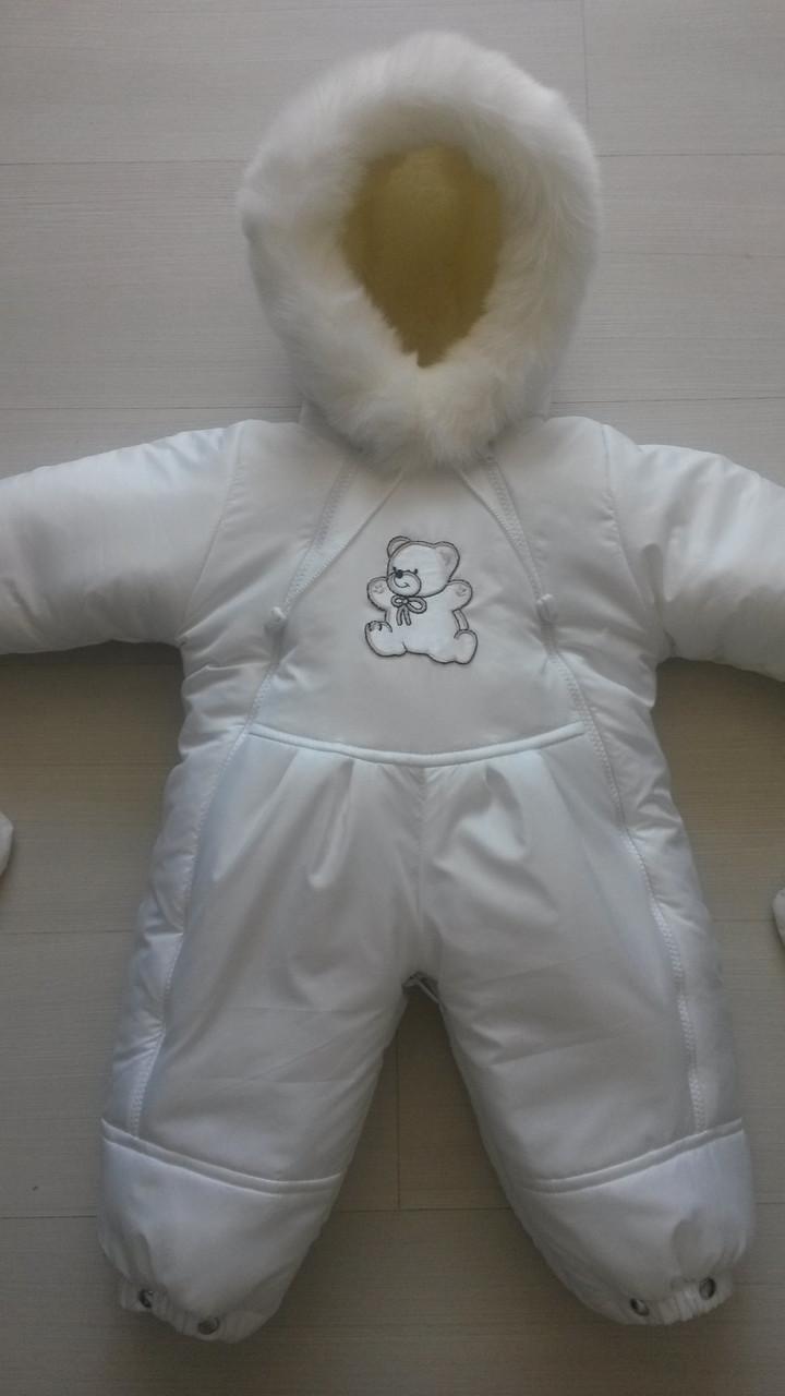 Детские комбинезоны конверты украинского производителя, белый комбинезон на овчине для новорожденного