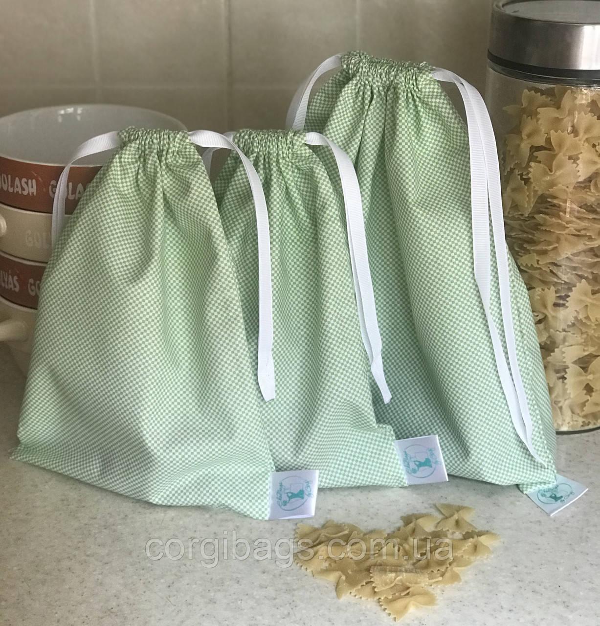 Многоразовые мешочки из хлопка, мешочки для хранения продуктов, мешочки для подарков, зеленые, набор 3 шт